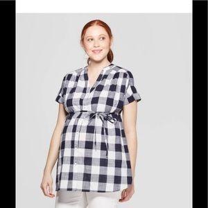 Maternity Plaid Dolman Short Sleeve V-Neck Top XS